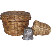 Victorian Sweet Grass Sewing Chatelaine 2 Piece Thread and Thimble Baskets with Sterling Thimble