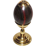 Van Cort Egg Kaleidoscope on Solid  Brass Stand RARE Striped Wood