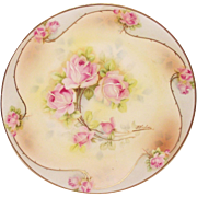 Vintage Royal Rudolstadt Plate with Pink Roses  Artist Signed