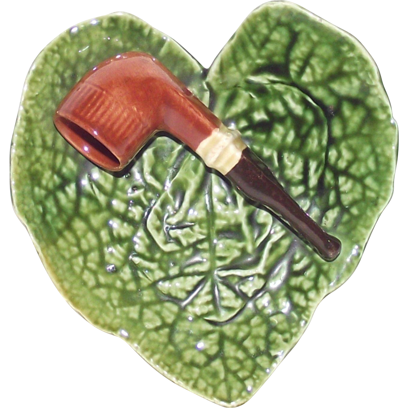 Vintage Majolica Pipe Rest Heart Shape Plate