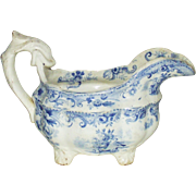 Antique Light Blue Transferware Creamer with Dolphin Handle  Circa 1820s 1850s