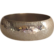 Mexican Sterling Hammered Wide Bangle Bracelet