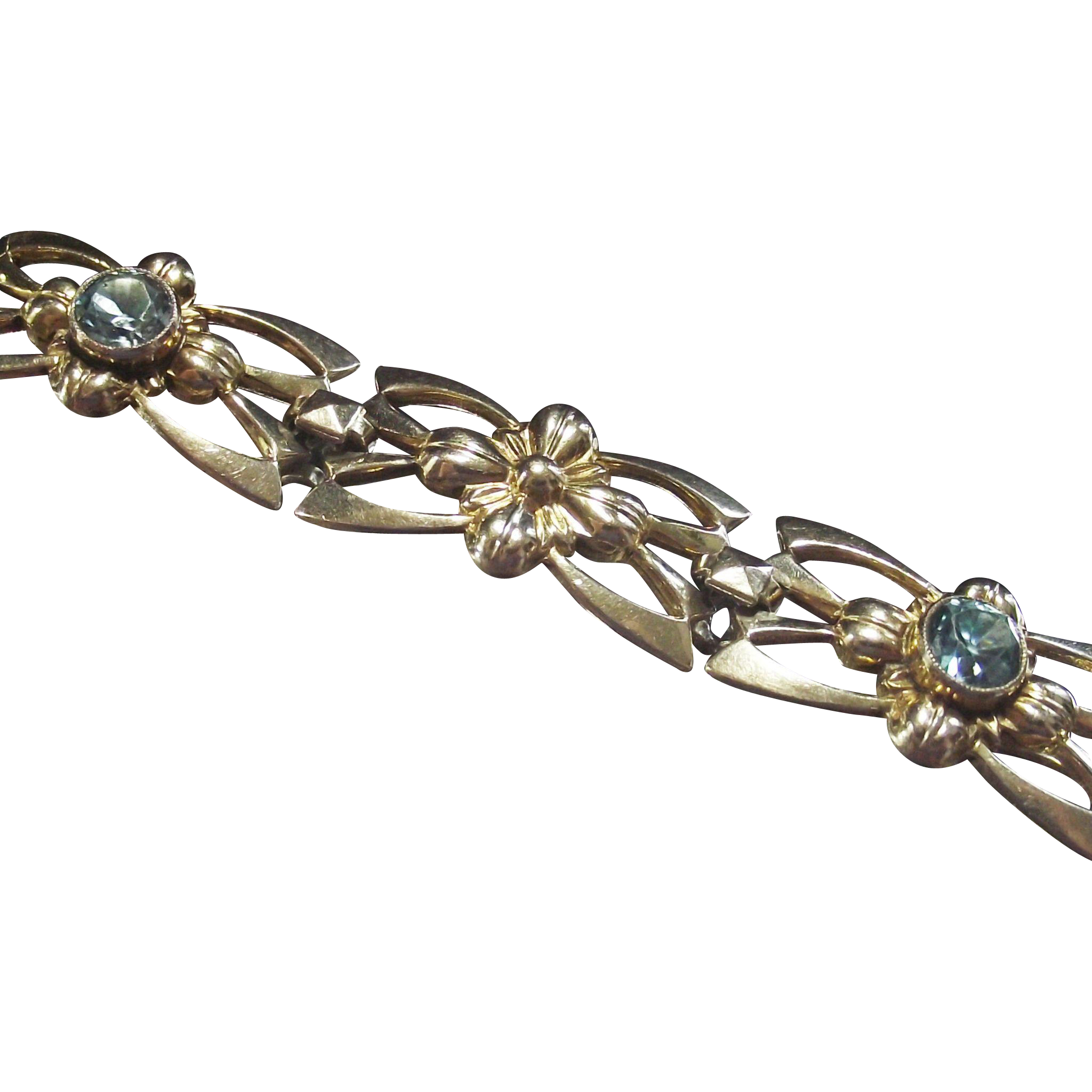 Vintage Art Deco Bracelet Blue Zircon 14KT over Sterling