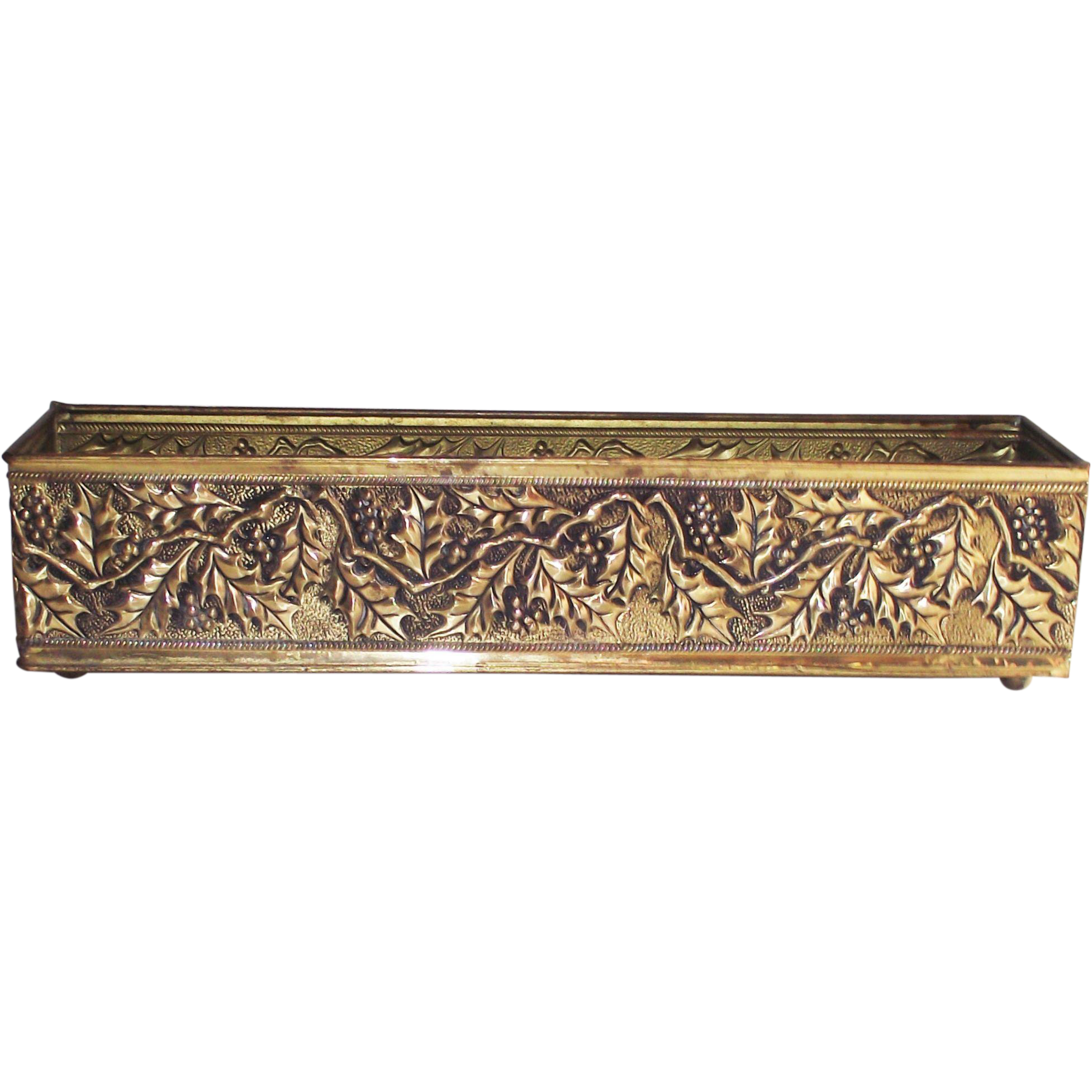 Vintage English Brass Flower Box Holly Berry Pattern