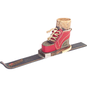Vintage Norwegian Wooden Ski with Leather Ski Boot Match Holder - Red Tag Sale Item