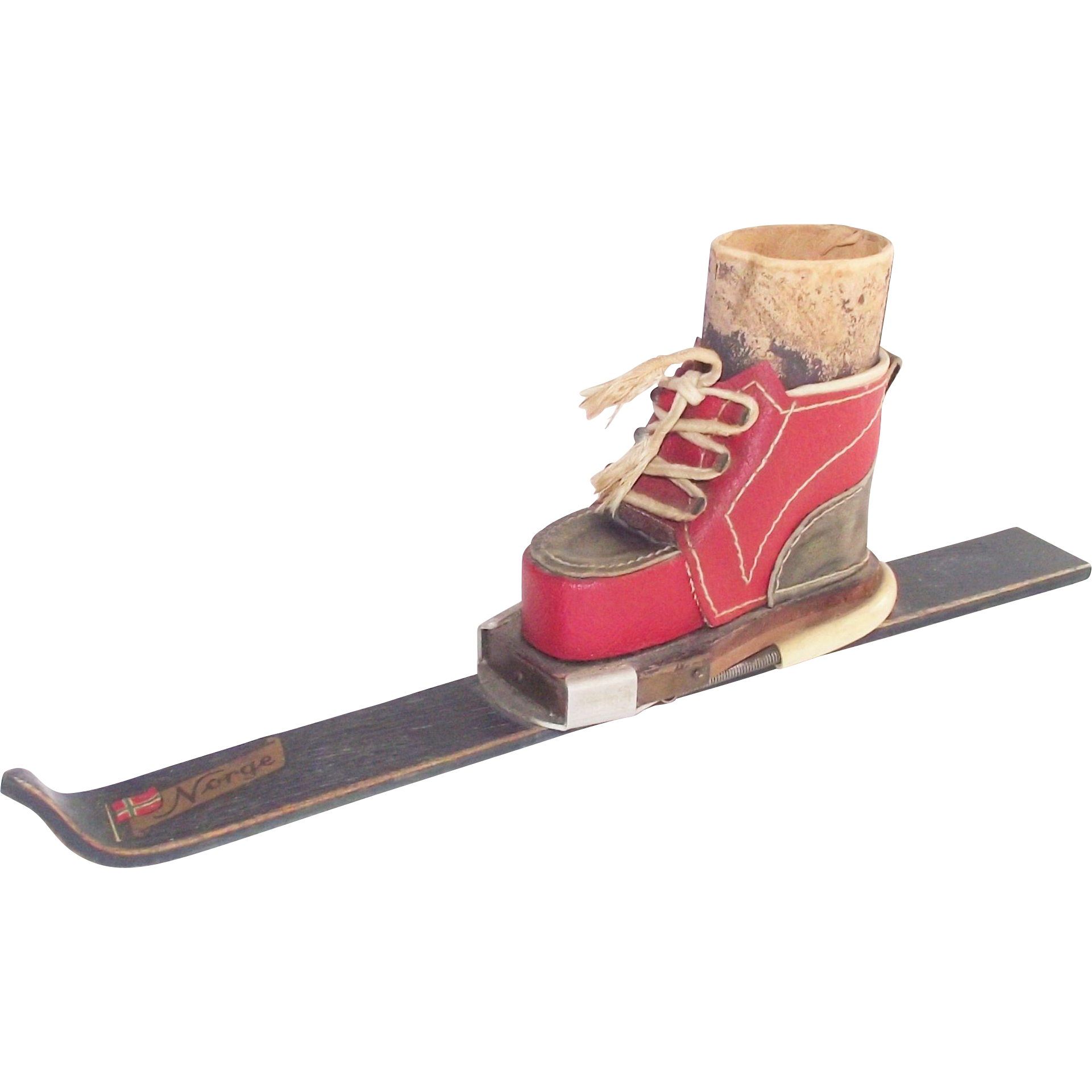 Vintage Norwegian Wooden Ski with Leather Ski Boot Match Holder