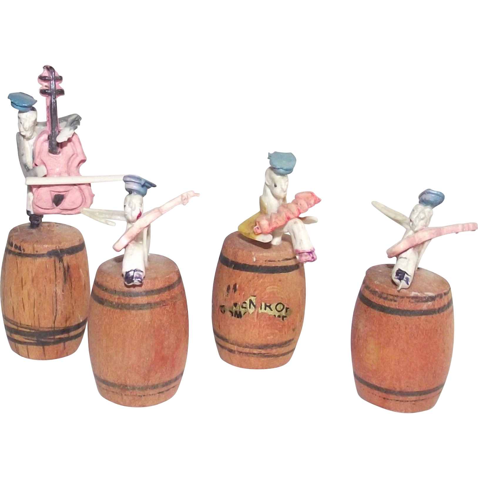 Vintage Japanese Celluloid Cricket Band Sitting on Wooden Kegs  1950s Miniatures