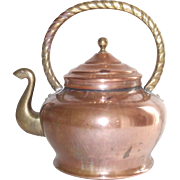 Vintage Italian Copper Tea Kettle with Brass Handle and Swan Neck Spout