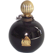 Vintage Lanvin Arpege Perfume Bottle Round Black Glass with Gold Stopper 1/2 OZ