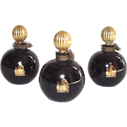 Vintage Lanvin Arpege Perfume Bottle Round Black Glass with Gold Stopper 1/4 OZ