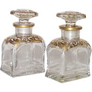 Antique Moser Perfumes Hand Blown and Hand Painted with Gold Trim for Casket