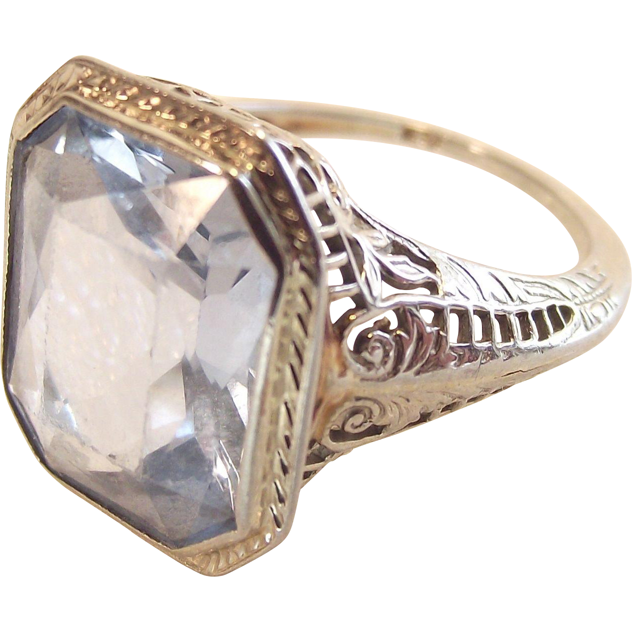 Art Deco Filigree Ring 14Kt White Gold Emerald Cut Ice Blue Topaz