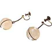 Vintage Art Deco Pools Of Light Rock Crystal Silver Earrings