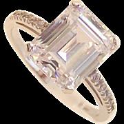 14 Kt White Gold  Ring sz 6.5 - Emerald Step Cut CZ.