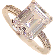 Vintage 14 Kt White Gold  Ring size Six and One Half with Emerald Step Cut CZ.