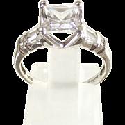 14 Kt. White Gold  Ring sz 6 -  Princess Cut - Rounds  &  Baguette  CZs.