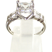 Vintage 14 Kt. White Gold  Ring sz six   Princess Cut  Rounds  and  Baguette  CZs.