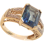 14 Kt, Yellow Gold Emerald Cut London Blue Topaz with Diamonds