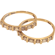 Vintage 14K Gold Round & Baguette Diamond Anniversary Wedding Stackable Band Guard Ring Set  .60 Carat