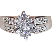 Vintage 10 Kt White Gold Diamond Waterfall Cocktail Ring Size Six