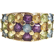 Vintage 10Kt Yellow Gold Multi Gemstone Band Ring Size Six and Three Quarters