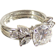 Vintage Sterling Silver Large CZ with Pretty Ring Guard Size Five and one half