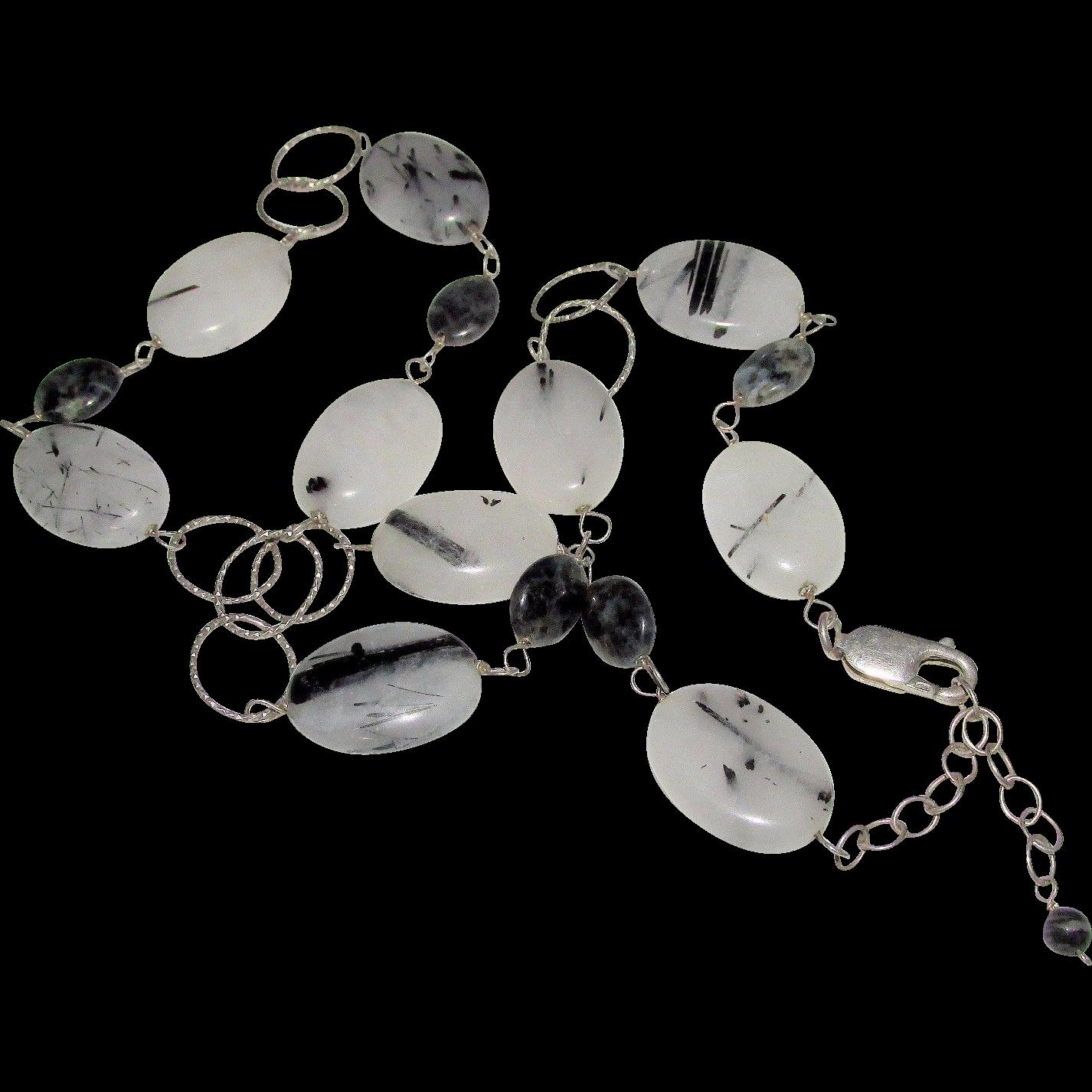 Vintage Black & White Rutilated Quartz Gemstone  Sterling Silver Necklace