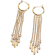 Vintage Gold Tone Demi Hoop Earrings with Long Fringe