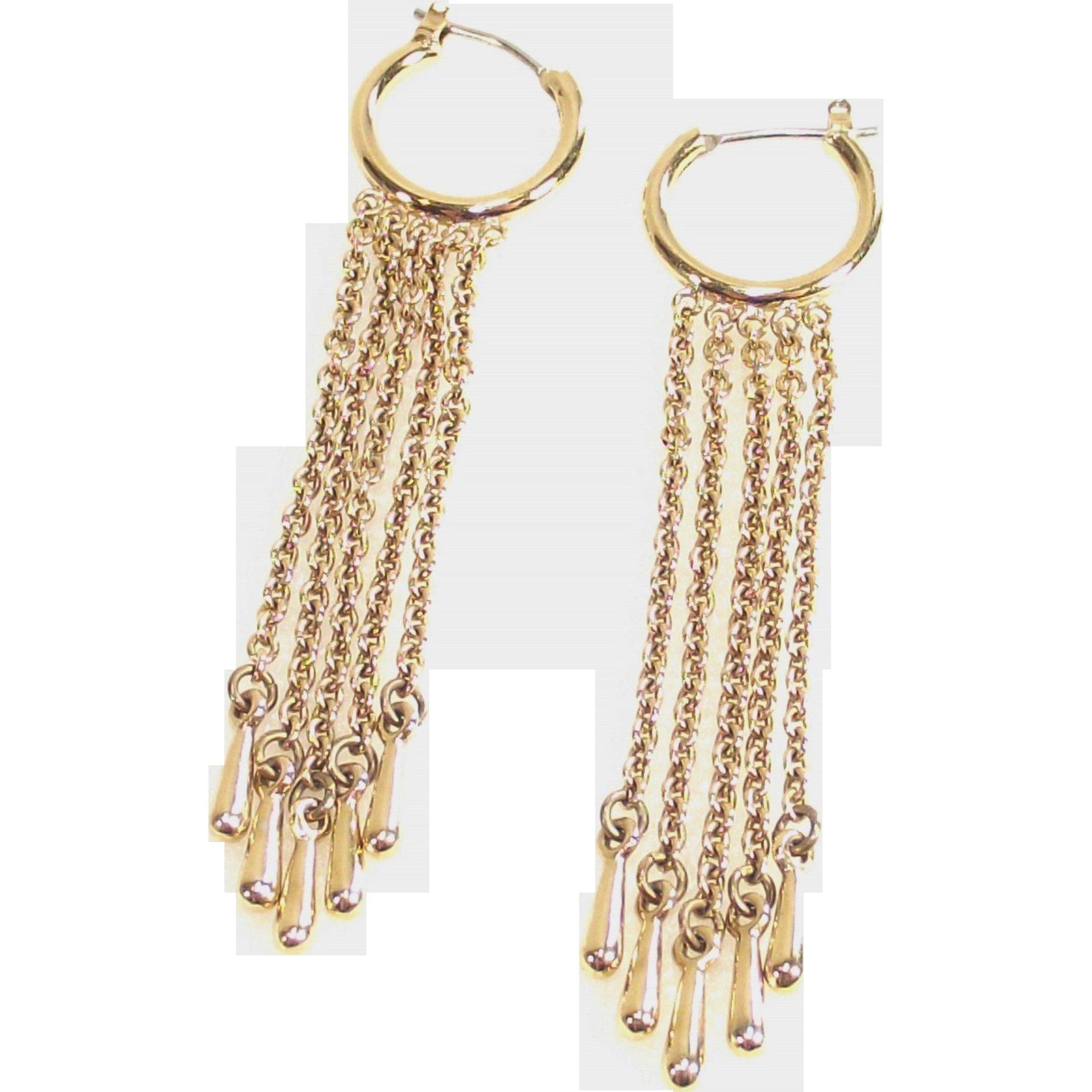 Vintage Gold Tone Demi Hoop Earrings with Long Fringe