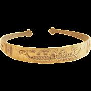 Vintage  Egyptian Cuff Style Bangle Bracelet  Brass