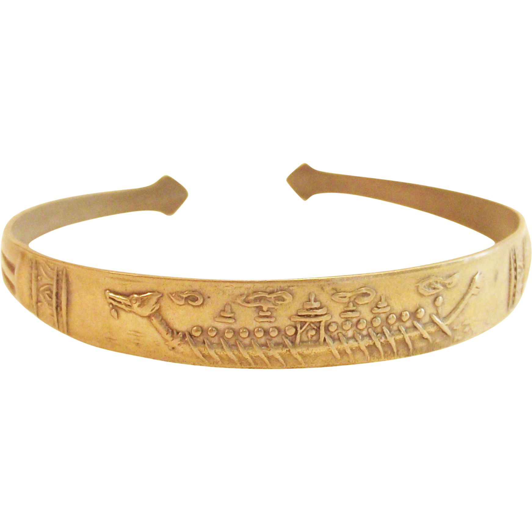Vintage  Egyptian Cuff Style Bangle Bracelet  Brass