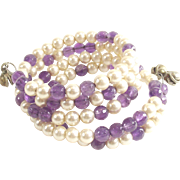 Glass Pearl and Purple Beads Wrap Bracelet