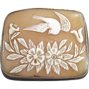 Antique Hand Carved Cameo with Flowers and Bird in Flight Sterling Frame
