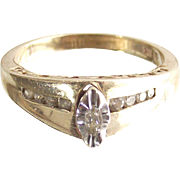 Vintage Ten kt Yellow and White Gold with Diamond Ring size six and one half