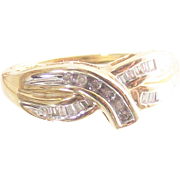 Vintage Ten Kt Yellow and White Gold with Channel Set Round and Baguette Diamonds Ring Size Six and Three Quarters