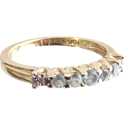 Vintage Ten Kt Yellow Gold Ring Guard Band Ring with Sky Blue Topaz and Tiny Diamonds size six and one half