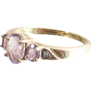 Vintage Ten Kt Yellow Gold Ring with Three Oval Rose D' France Amethyst - Past Present Future Style