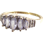 Vintage Ten Kt Yellow Gold  Five Marquise Light Tanzanites and Four Points of Diamonds  Size six and three quarters