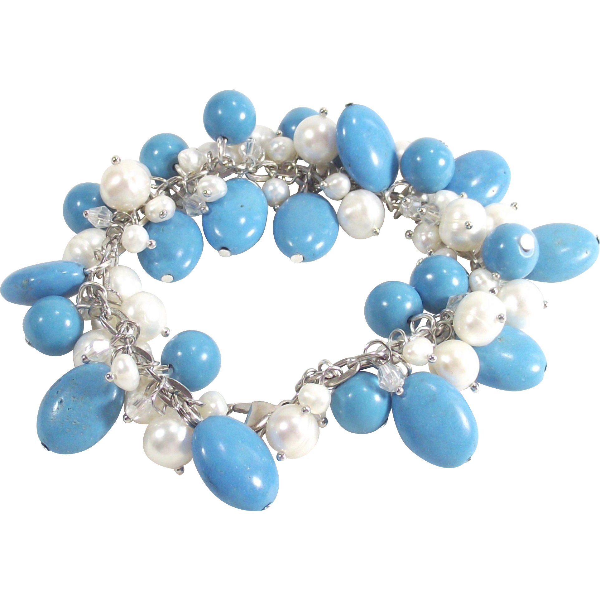 Vintage Turquoise Howlite Stones and Fresh Water Pearls Charm Style Bracelet