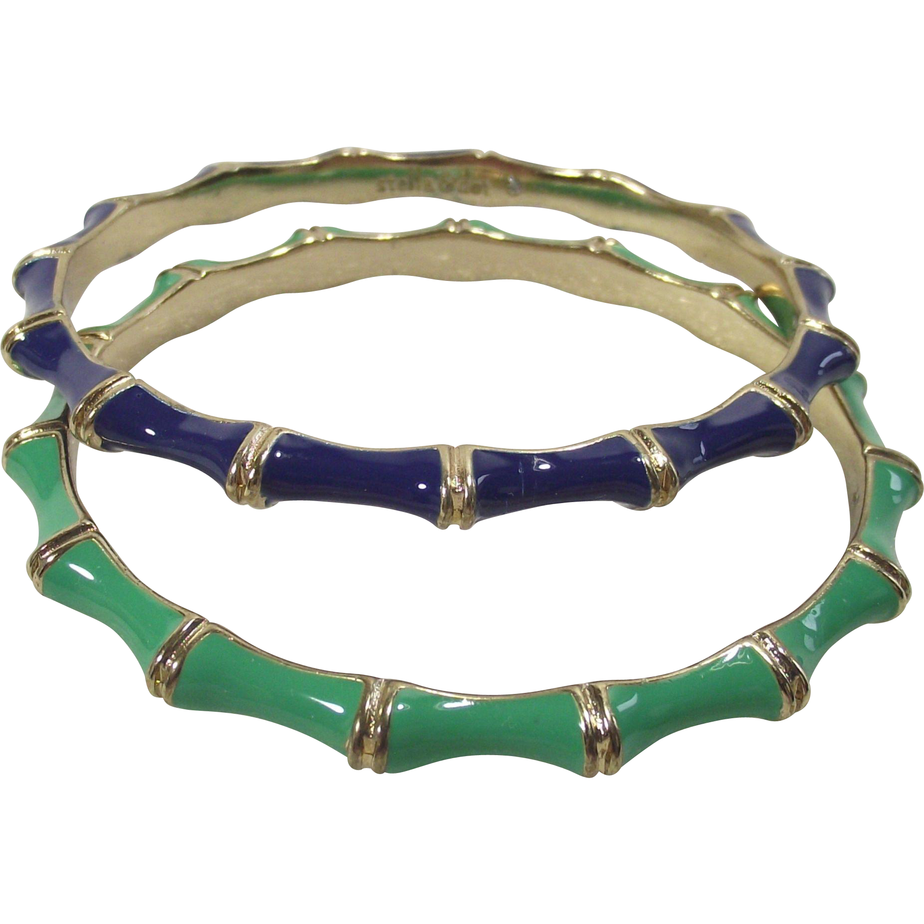 Vintage Enamel Stella and Dot Grass Green and Navy Blue Bamboo Style Bangle Two Piece set