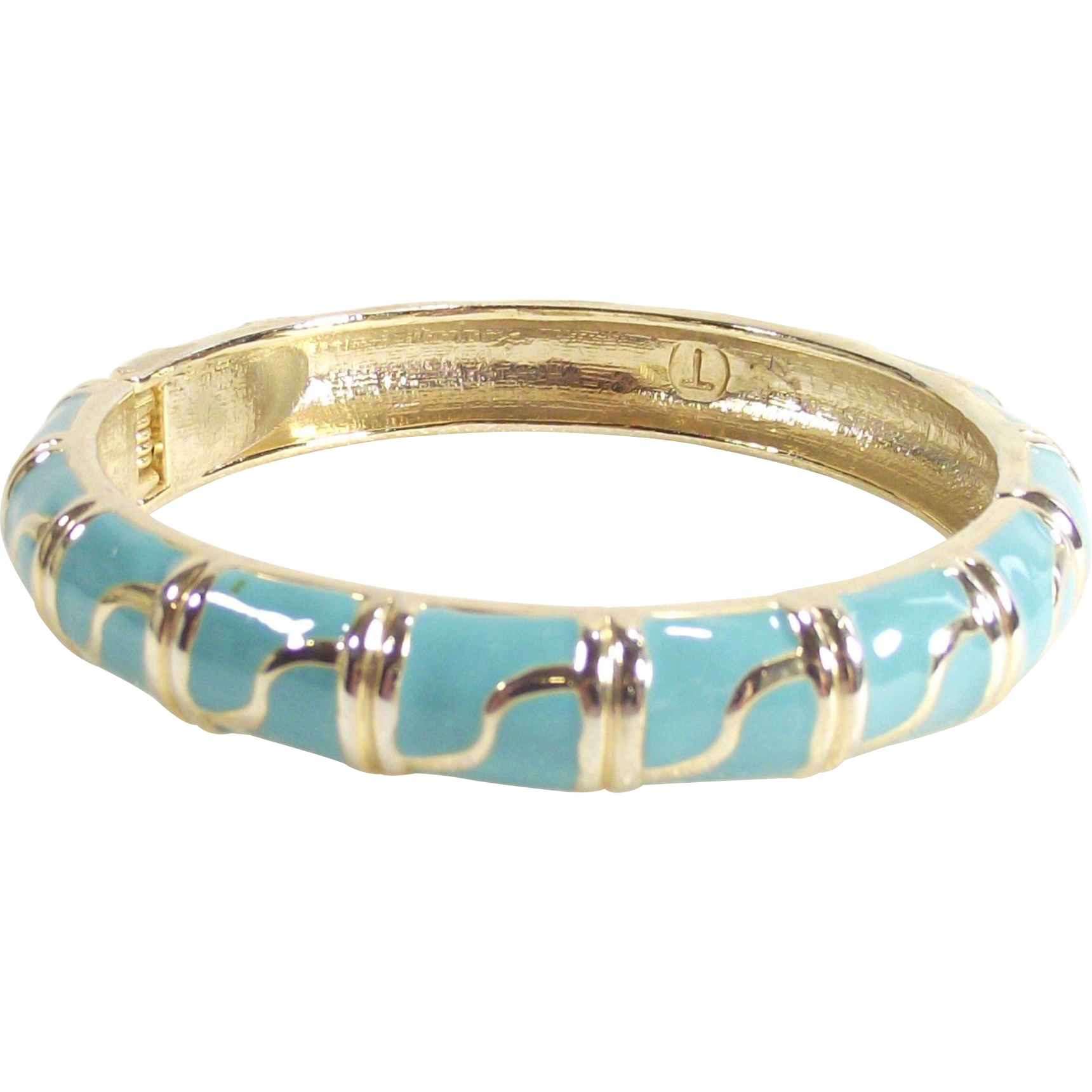 Vintage Turquoise and Gold Tone Enamel Clapper Style Bangle Bracelet
