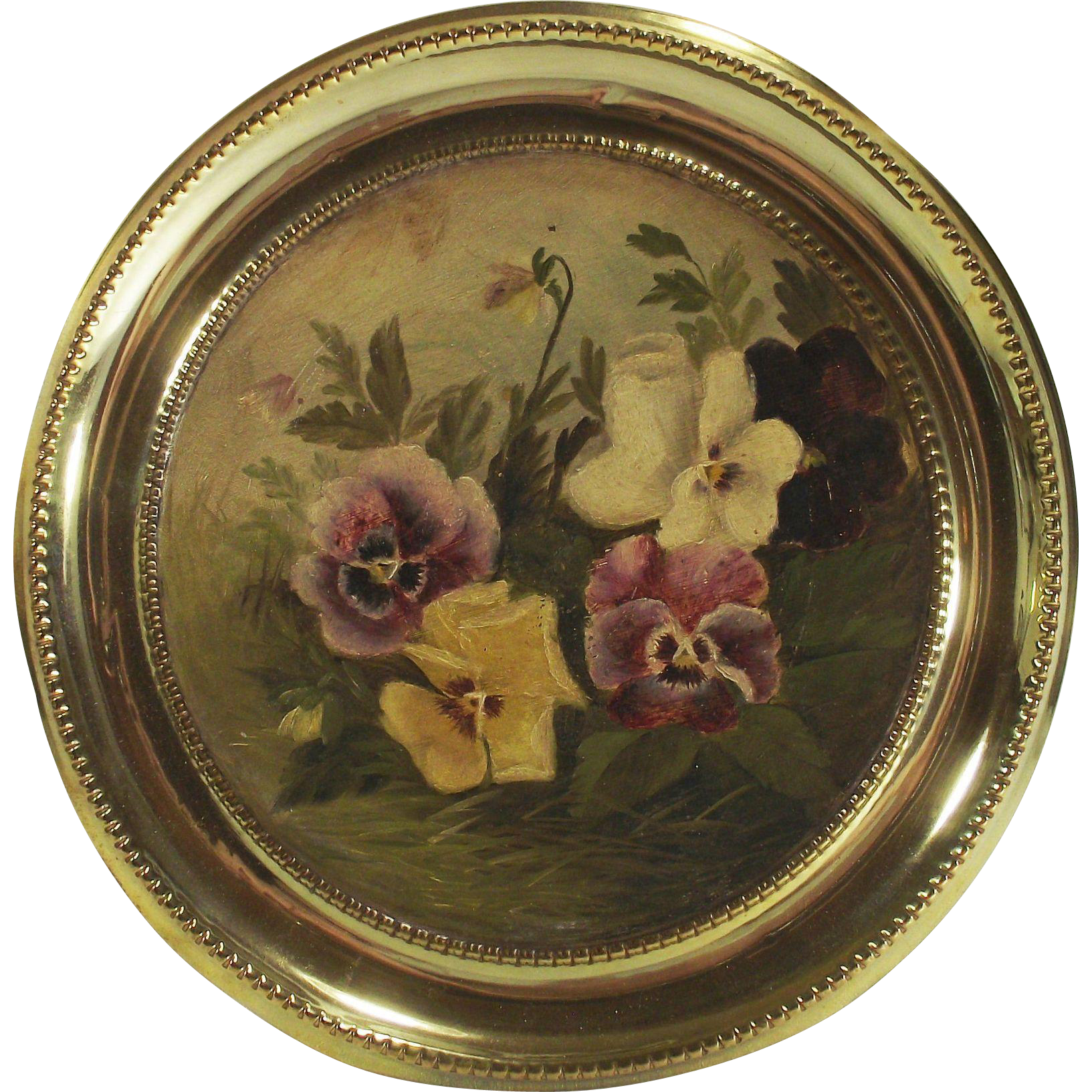 Victorian Hand Painted Purple, White, Yellow Pansies Brass Flue Cover