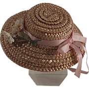 Vintage Doll Straw Hat with Nose Gay Flowers
