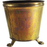 Vintage Brass Cache Pot with Lion Paw Feet