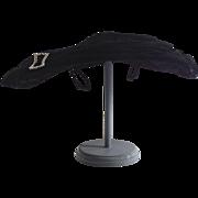 Vintage Ladies Hat by Robin of New York 1940s Black Velvet Wide Brim Saucer Shape