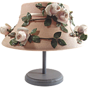 Vintage Pink Straw Hat with Large Pink Millinery Roses 1960's