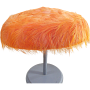 Vintage Pill Box Hat Tangerine Feathered 1960's