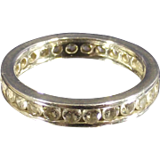 Vintage Channel Set Clear Cz Eternity Band Ring Sterling Silver SZ.5.5