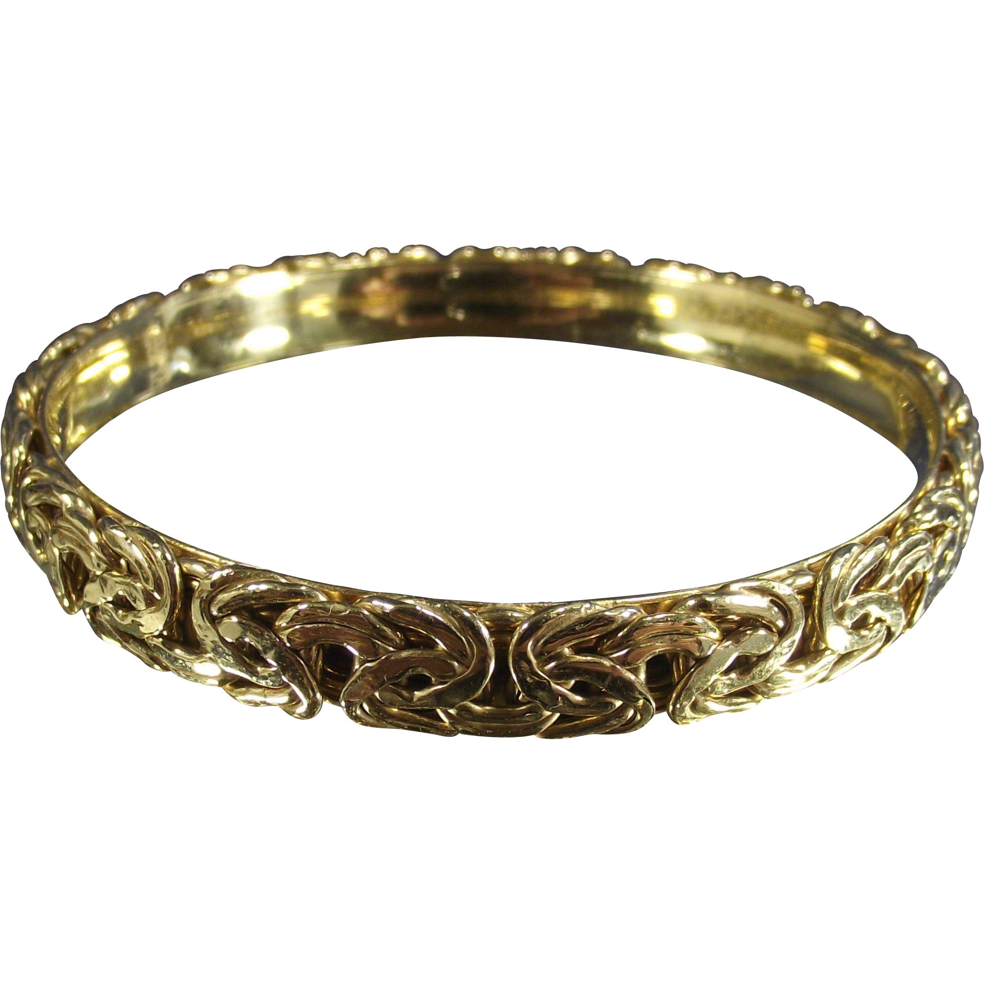 Vintage Byzantine Hard Bangle Gold over Sterling