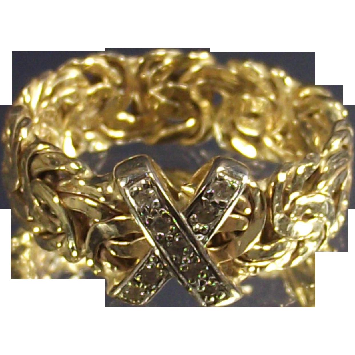 Vintage Fourteen Caret  Bi Color Gold Byzantine Ring With Diamonds